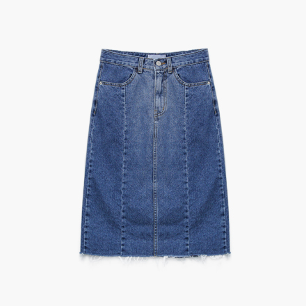 between denim skirt